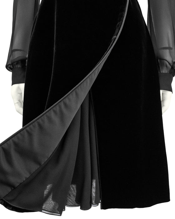 Black Chiffon and Velvet Dress Shirt Dress
