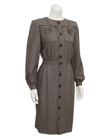 Brown Wool Shirtdress