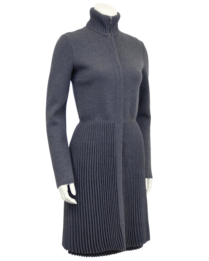 Grey Micro Pleated Jacket and Dress Set