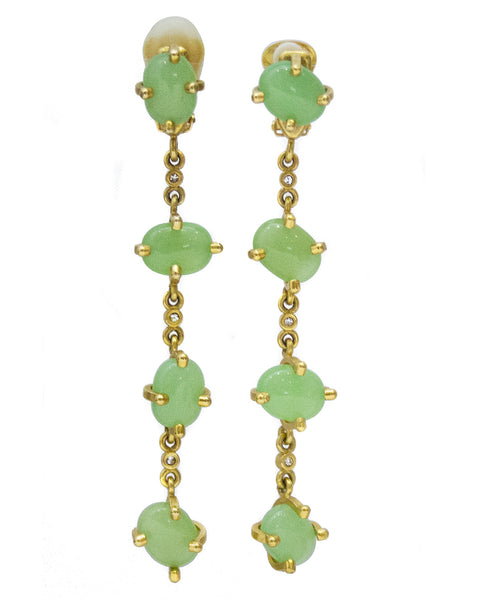 Long Gold Tone and Sea Foam Clip back Green Earrings