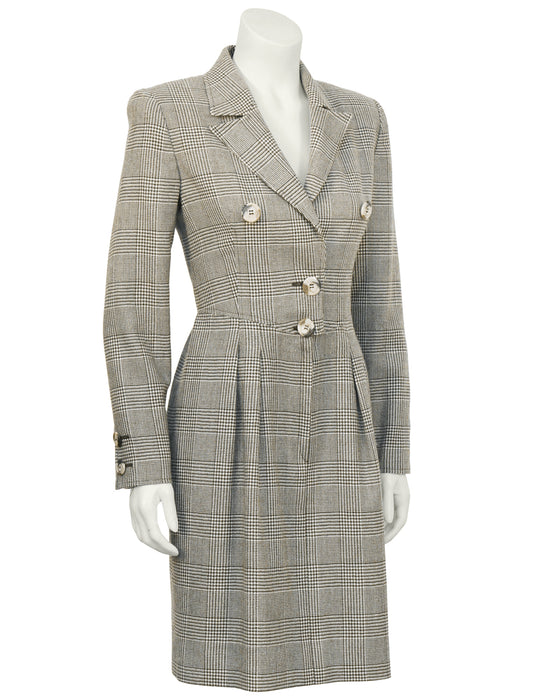 Brown Glen Check Wool Dress