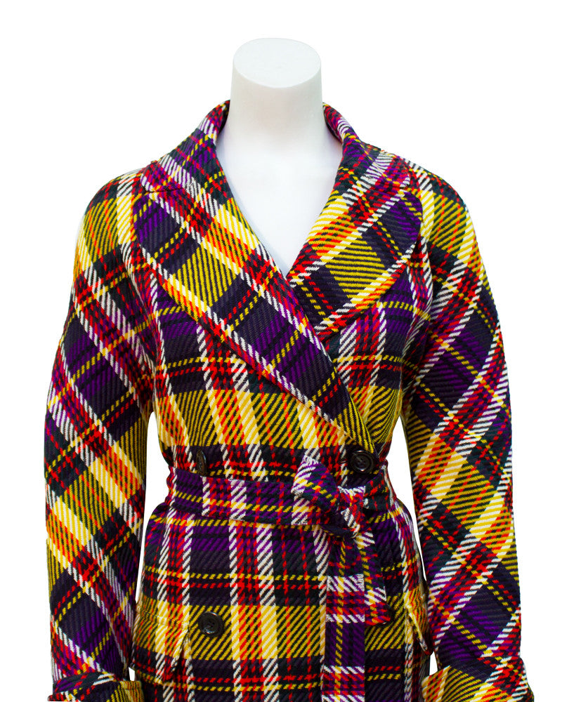 Yellow & purple Tartan Plaid belted coat