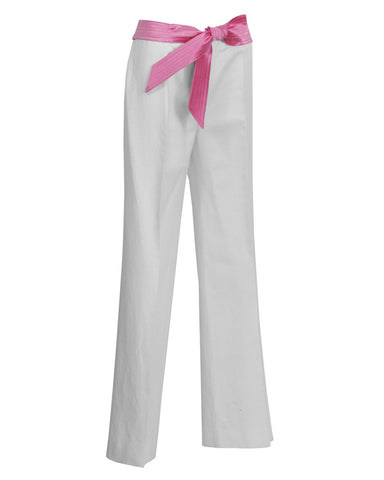 Cream Linen Trousers with Pink Ribbon Belt