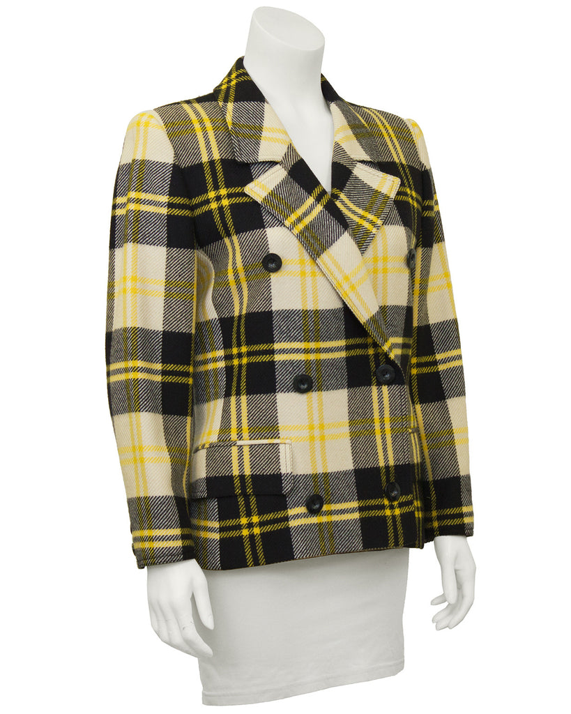 Yellow Black and White Plaid Wool Blazer
