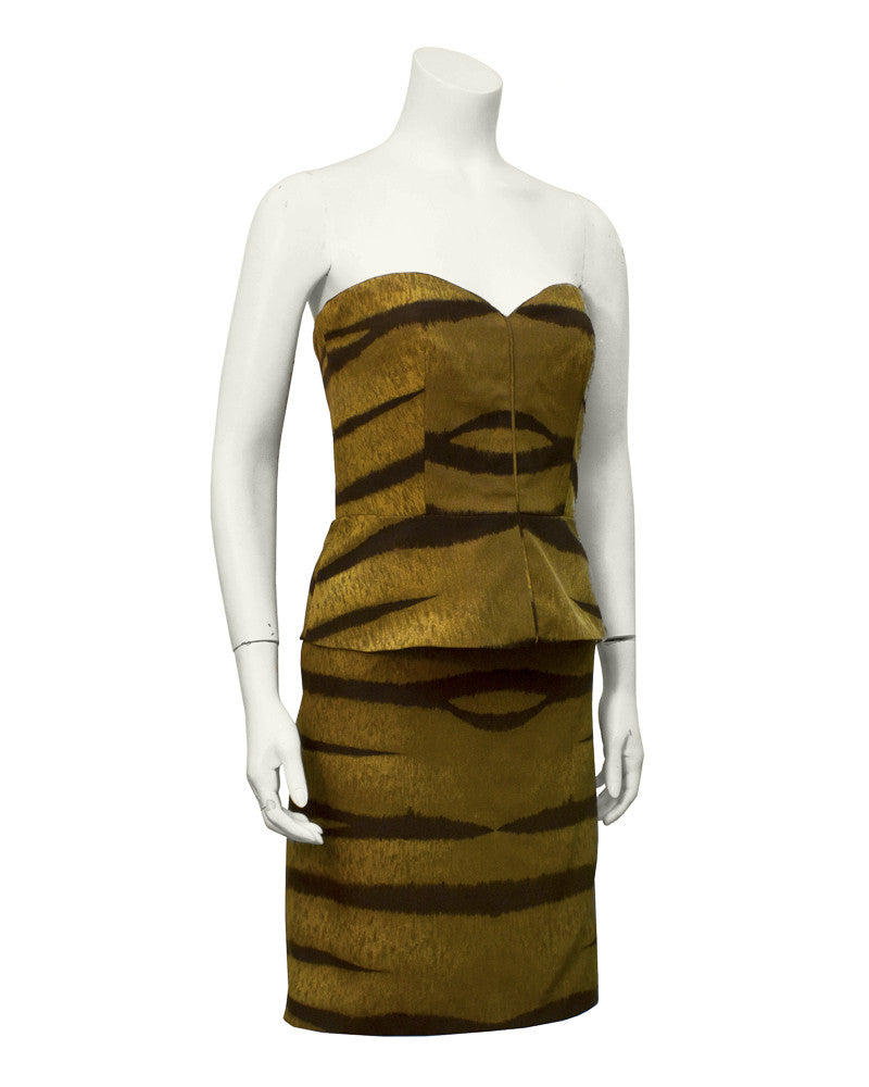 Brown Tiger Stripe Bustier and Skirt