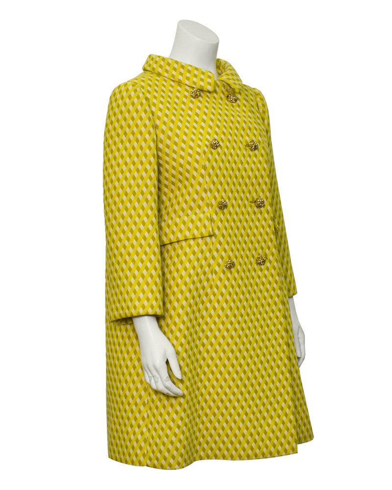 Yellow wool swing coat with jewels