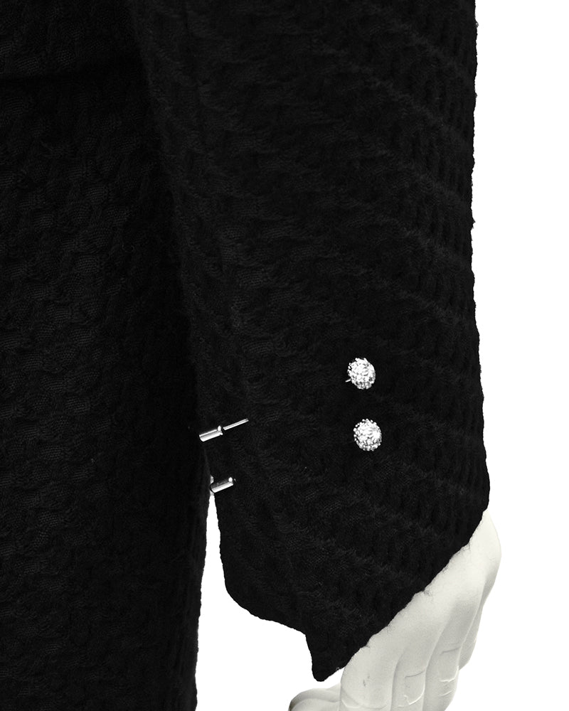 Black Boucle Suit with Pins