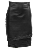Black Leather Skirt with Tiered Hem Detail