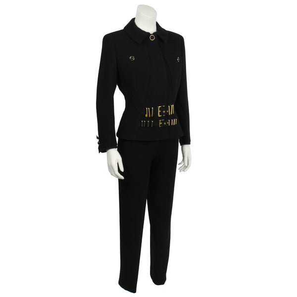 Black Suit with Gold Hardware