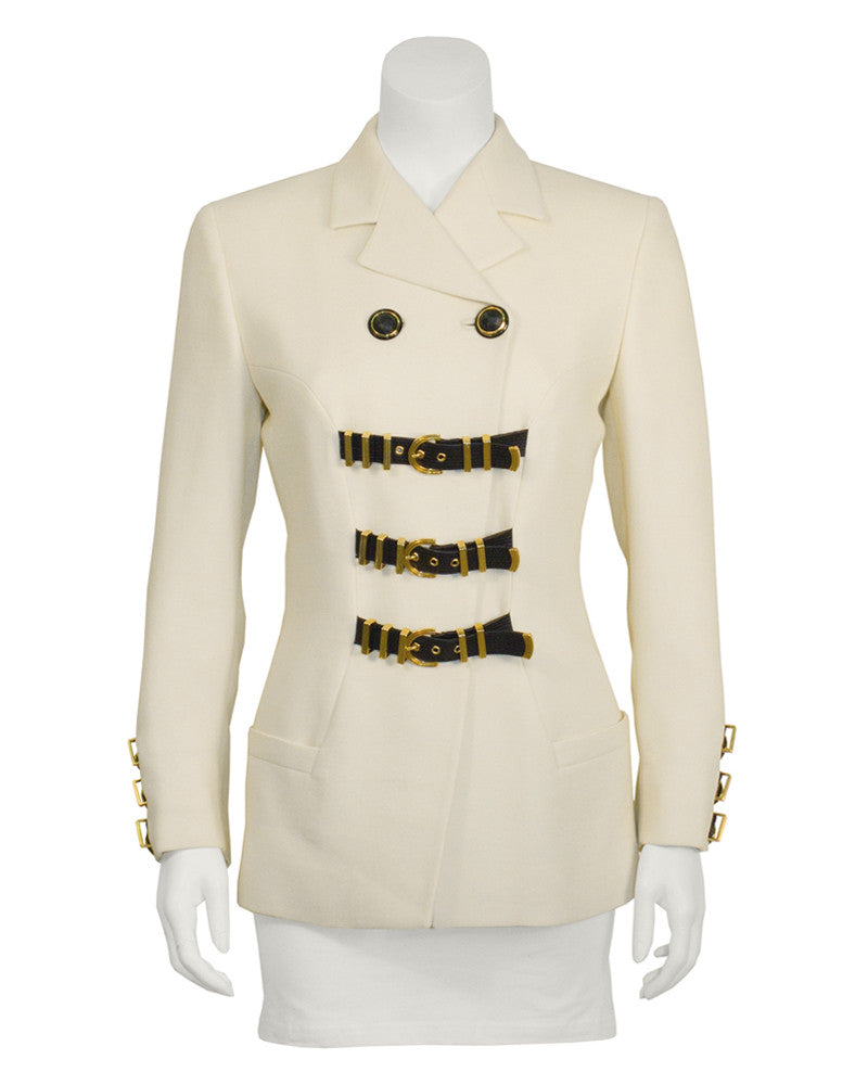 Cream Blazer with Bondage Belt Detail