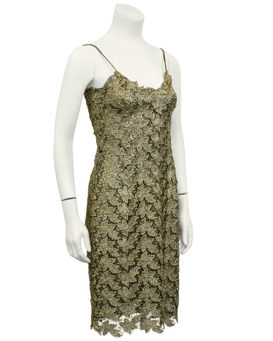 Gold Lace Slip Dress