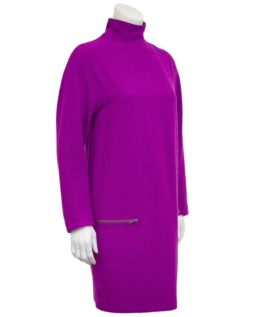 Purple Boiled Wool Tunic Dress