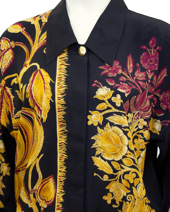Black Silk Shirt with Gold and Maroon Botanical Print