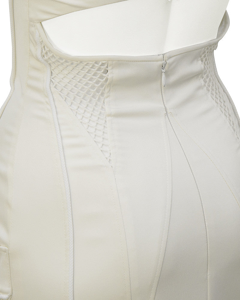 White Body Con Cargo Cocktail Dress
