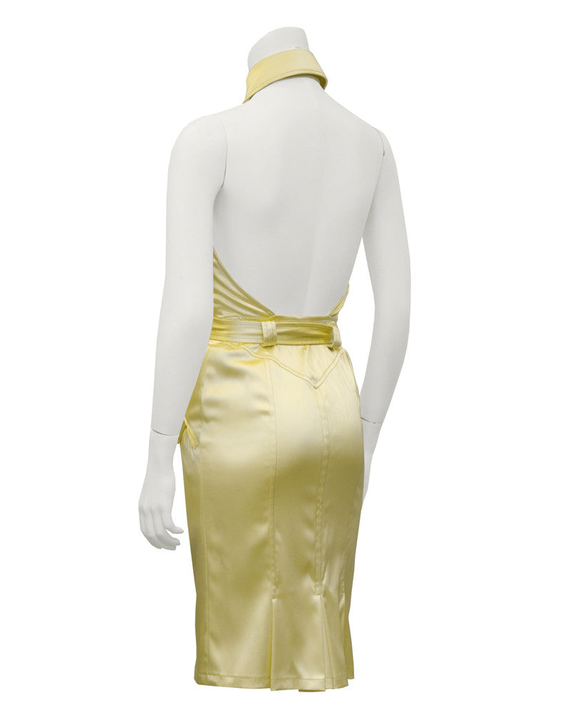 Yellow Satin Halter Dress
