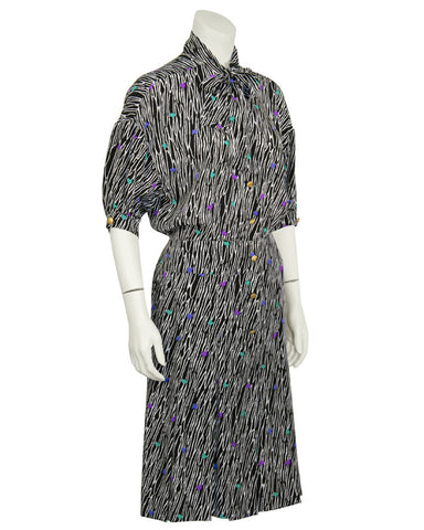 Black Printed Silk Day Dress