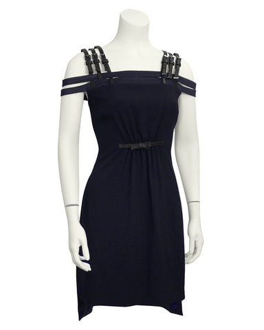 Navy Cage Dress with Black Leather Accents