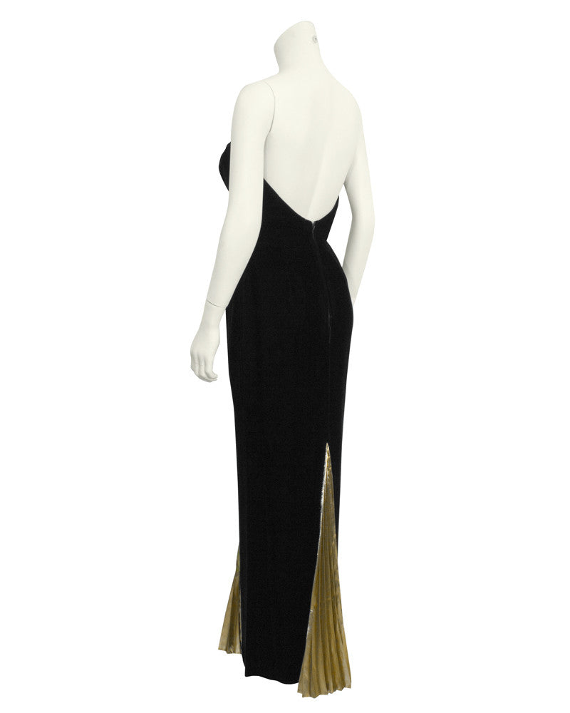 Black Velvet & Gold Lame Gown