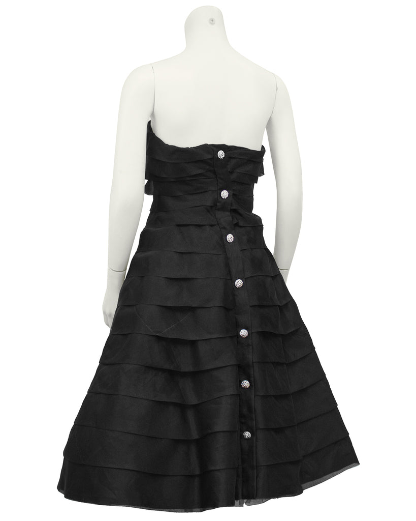 Black Tiered Chiffon Strapless Cocktail Dress