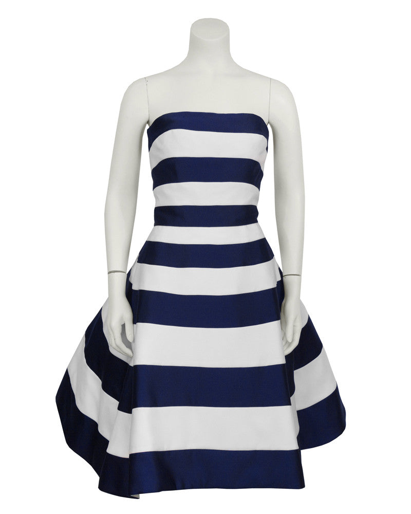 Navy and White Strapless Cocktail Dress
