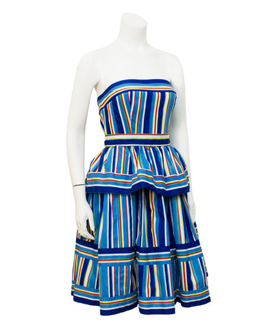 Blue Striped Cotton Tiered dress