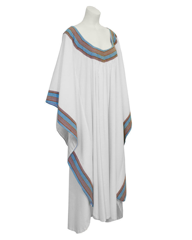 White Cotton African Kaftan with Trim