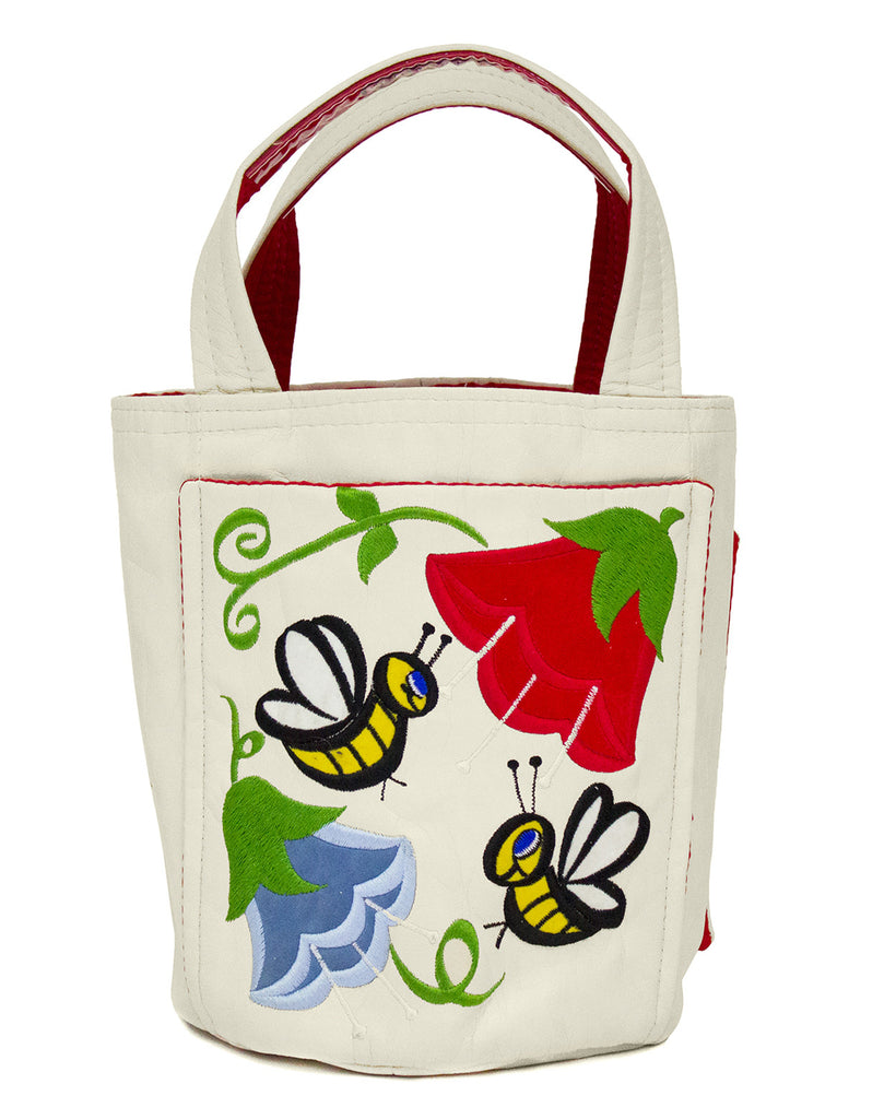Beige Bucket Tote with Floral Embroidery