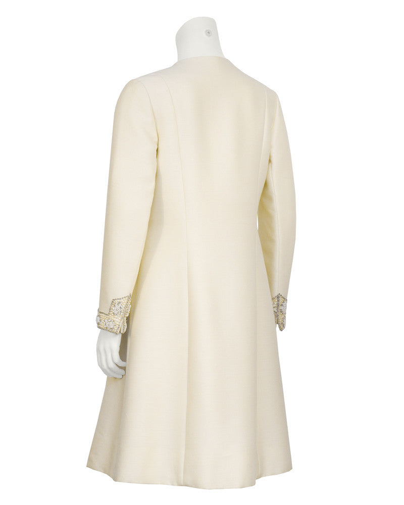 Cream Evening Coat with Rhinestone Detail