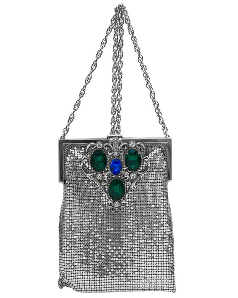 Silver Metal Mesh Cross Body Evening Bag