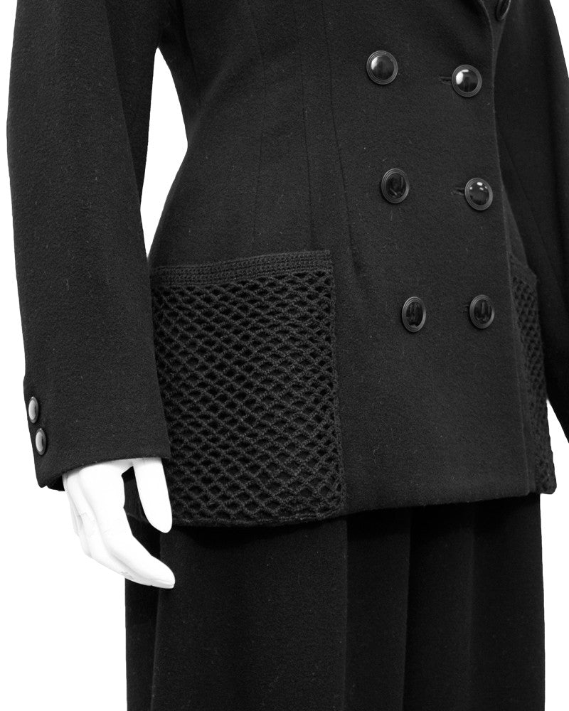 Black Wool Suit with Net pockets