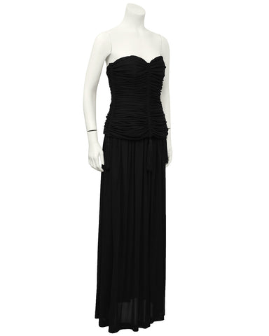 Black Jersey 2 PC Gown With Tassels