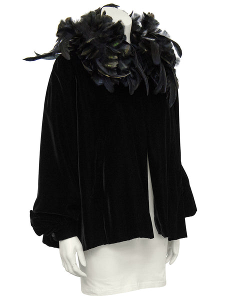 Black Velvet Jacket with Feather Collar