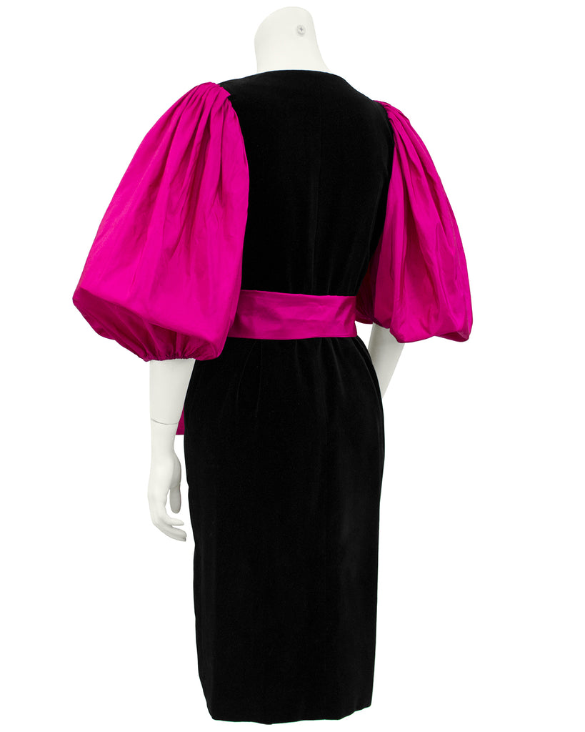 Black Velvet Dress with Pink Balloon Sleeves & Bow