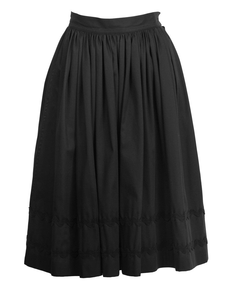 Black Dirndl Skirt with RickRack Detailing