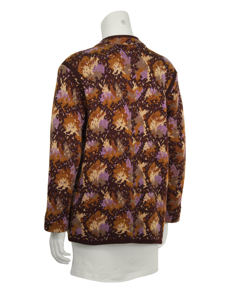 Brown Intarsia Knit Cardigan