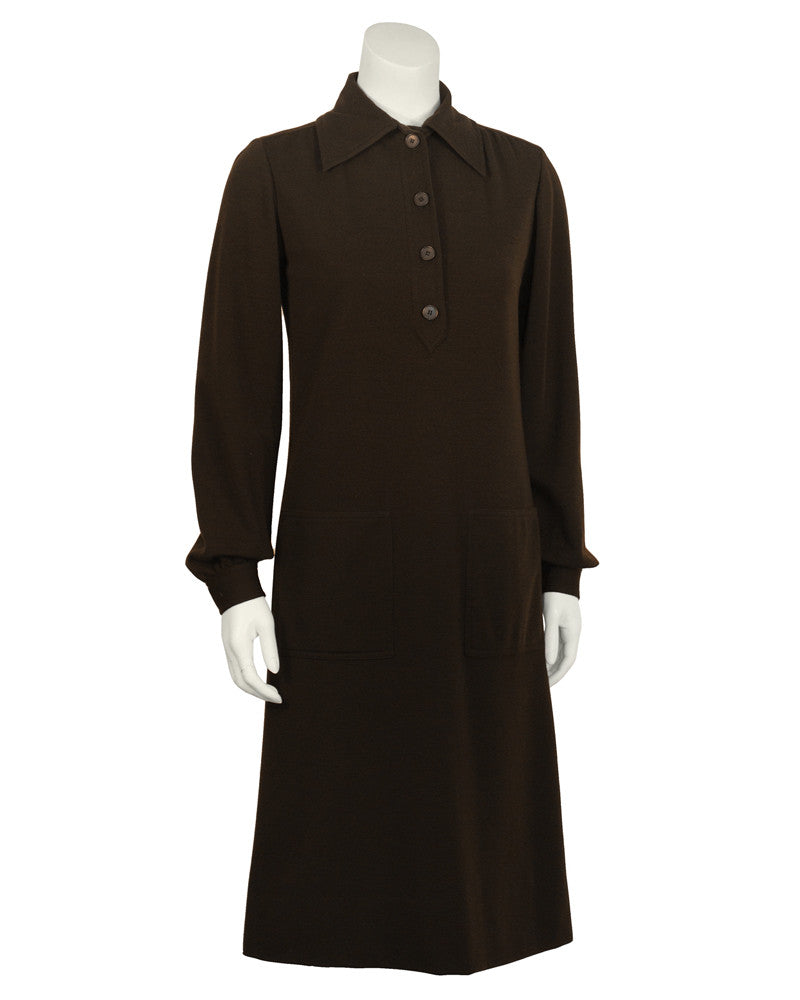 Brown Wool Day Dress