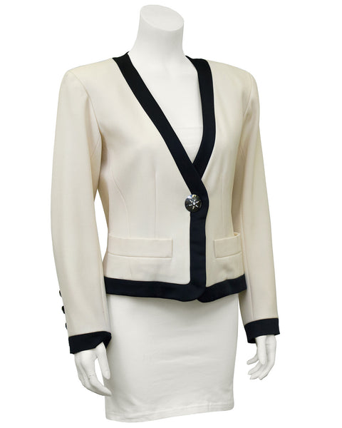 Cream Cropped Jacket with Black Satin Trim