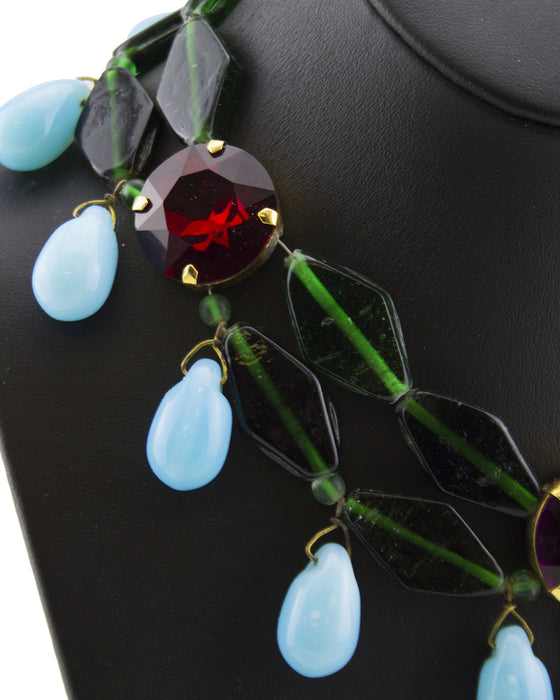 Turquoise, Red & Green Beaded Necklace
