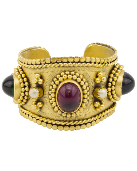 Gold Tone Detailed Cabochon Cuff