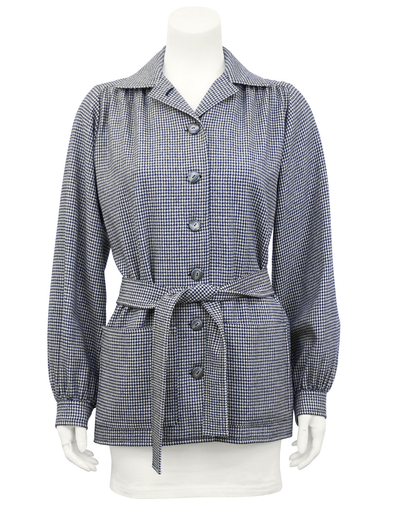 Navy Blue Houndstooth Haute Couture Jacket