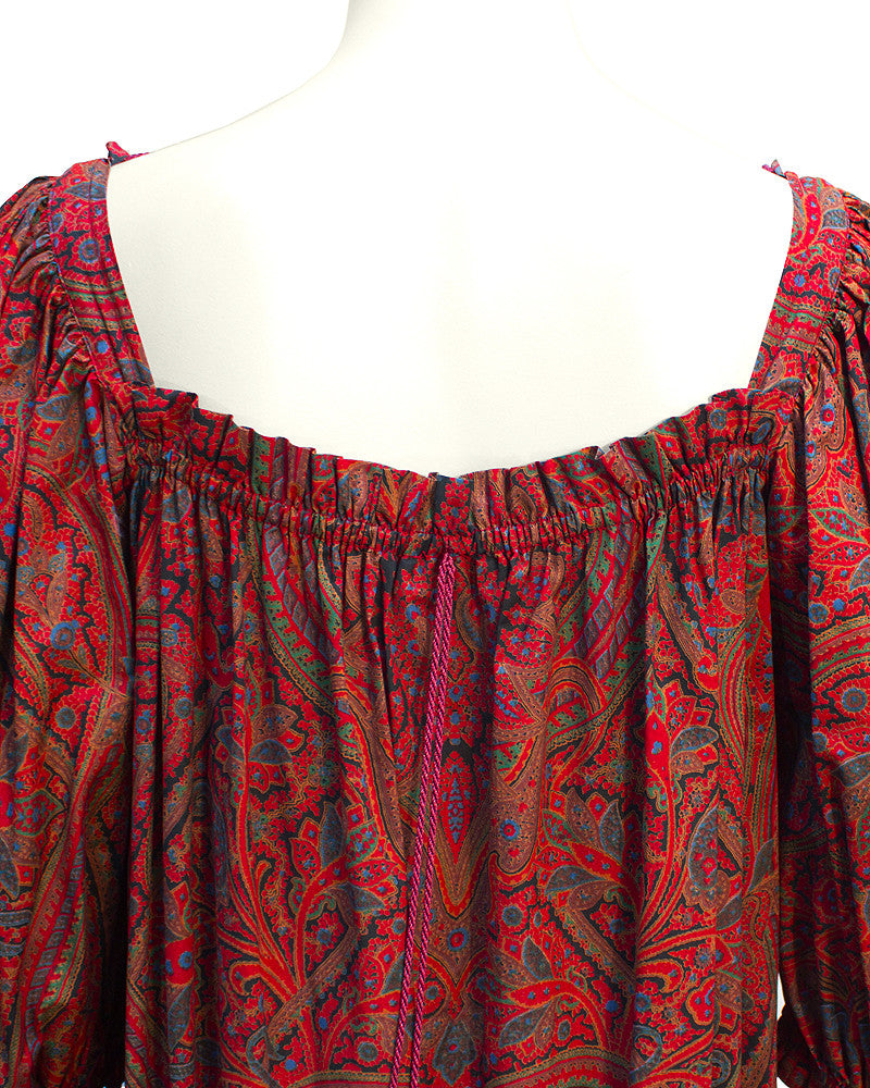 Red Paisley Peasant Gown