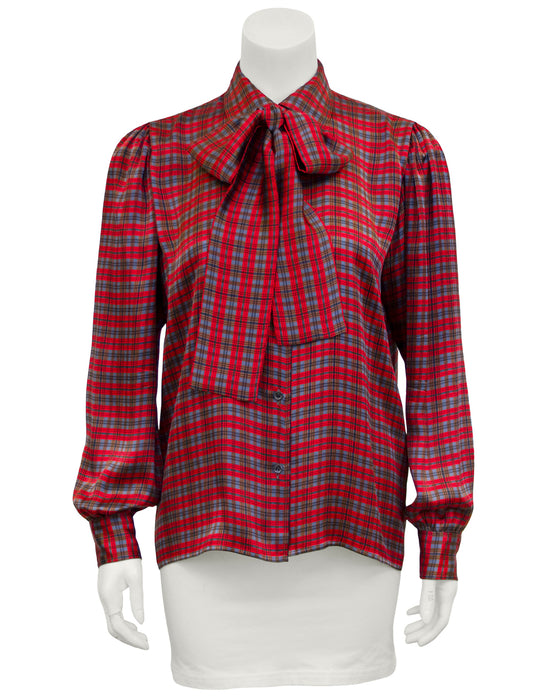 Red, Blue and Brown Tartan Pussy Bow Blouse