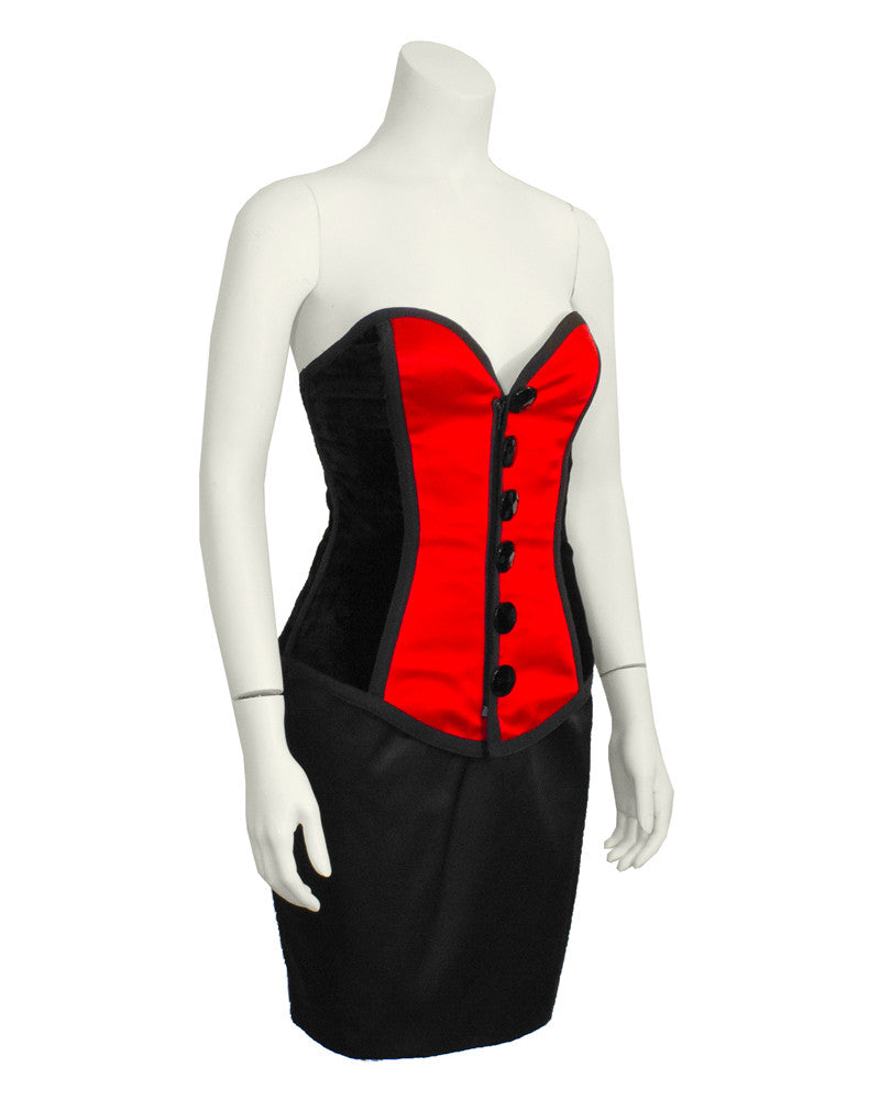 Red & Black Bustier and Skirt Ensemble