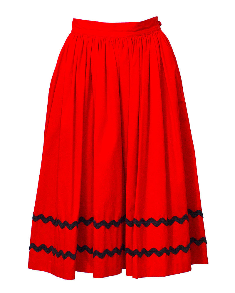 Red Skirt with Black Chevron Detailing