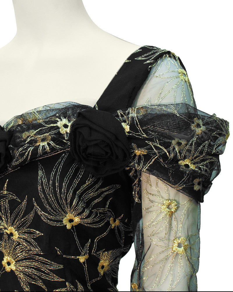 Black Gown with Gold Tambour Detailed Stitching