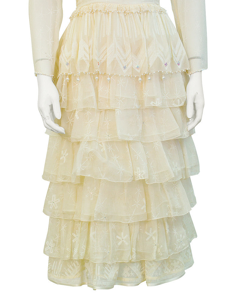 Cream Printed Tiered Dress