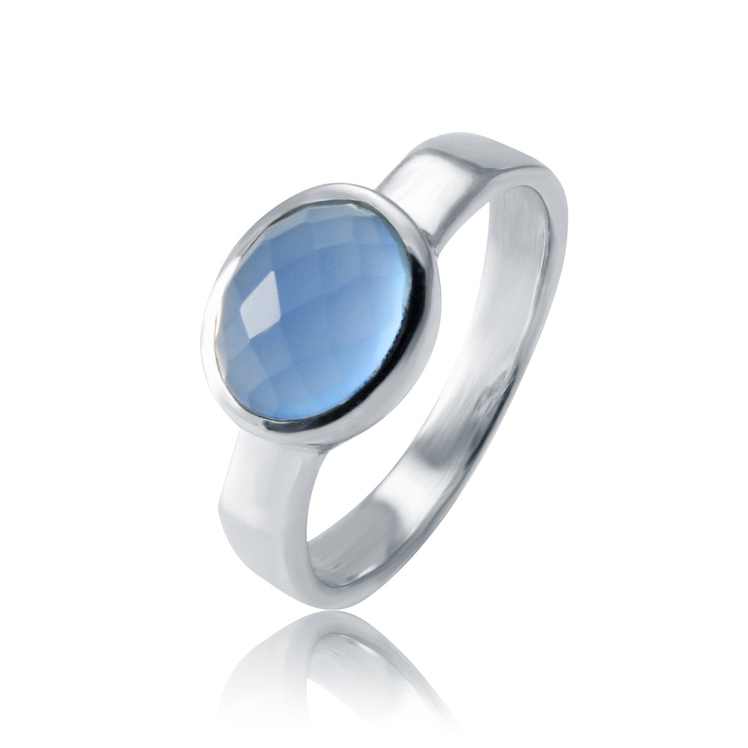 Simple Oval Ring - Blue Chalcedony