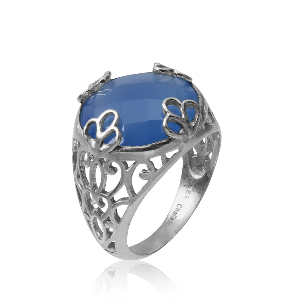 I have big heart round cocktail ring/ Blue Chalcidony