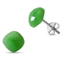 Load image into Gallery viewer, My Soothing Energies Are Pleasant Green Onyx Sterling Silver Studs.