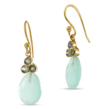Load image into Gallery viewer, I Am Pleasant Person To Be Around Aqua Chalcedony Tear Drop Earring